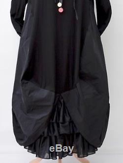 Lagenlookzedd. Plushooded Balloon Long Dress+petticoatblackbust Up To 54