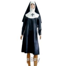 Latex 100% Rubber Handsome Cosplay Black Nun Uniform Hooded Dress SizeXXS-XXL