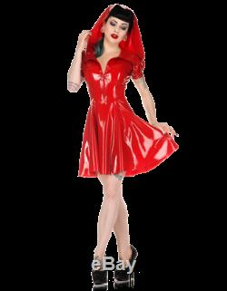 Latex Catsuit Rubber Gummi Little Red Riding Hood Dresses Sweet Customized 0.4mm