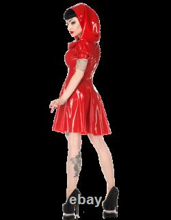 Latex Catsuit Rubber Gummi Little Red Riding Hood Dresses Sweet Customized 0.6mm