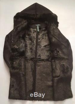 Lauren Ralph Lauren Black Faux Fur Shearling Coat With Hoodie Size S