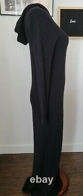 Lauren Ralph Lauren Black Hooded Wool, Angora, Cashmere Maxi sweater Dress Small