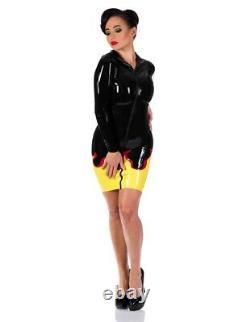 Libidex latex rubber gummi flame biker hellraiser hooded dress black size L