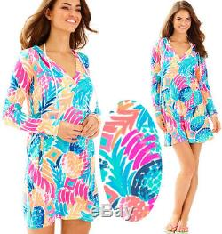 Lilly Pulitzer Rylie UPF 50+ Goombay Smashed Pineapple Hooded Cover Up Dress