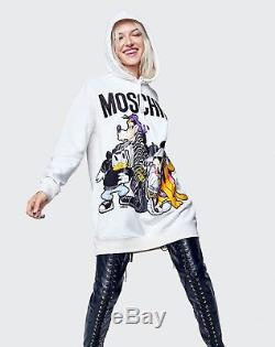 Limited Edition Moschino x H&M Hooded White Sweatshirt Sweater Dress Hoodie XS