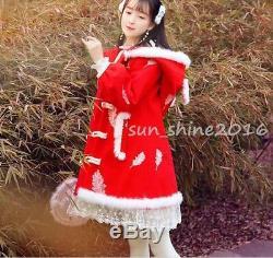 Lolita Cute Women Big Hooded Coat Trench Parka Dress Jacket Outwear Overcoat NEW