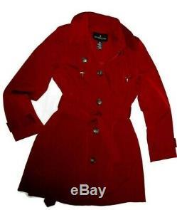 London Fog Chili Red trench rain dress Coat w rem hood women's size Large nwt