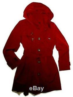 London Fog Chili Red trench rain dress Coat w rem hood women's size Medium nwt