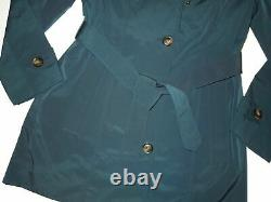 London Fog Dark Teal trench rain dress Coat w rem hood women's size Medium nwt