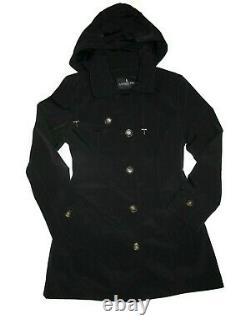London Fog Trench rain dress Coat w rem hood Black size Small S