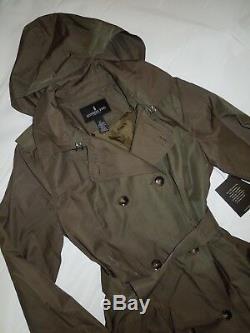 London Fog Trench rain dress Coat w rem hood Fatigue Green OLIVE size Medium M