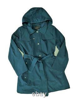 London Fog Trench rain dress Snap Coat w rem hood Dark Teal XL NEW