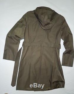 London Fog fatigue Green trench rain dress Coat w rem hood size Medium