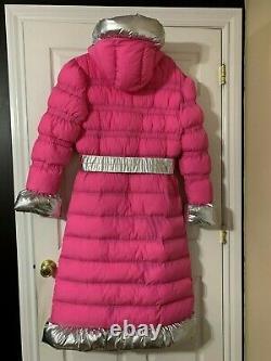 Long Hot Pink Puffer Coat Crinkle Nylon Shiny Silver Trim Puffy Dress Jacket XL