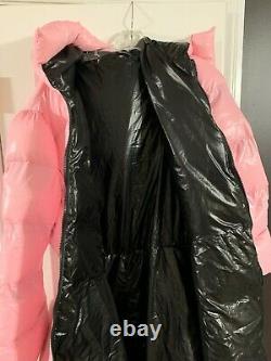Long Light Baby Pink Puffer Coat Shiny Nylon Dress Sleeping Bag Puffy Jacket XL