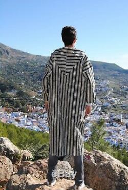 Long wool coat Djellaba men women handmade winter coat natural fabric