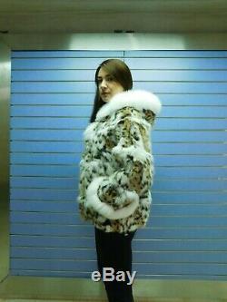 Luxury Lynx Fur Coat Real Lynx Fur Cape / Jacket Lynx Fur Hood Fox White Trim