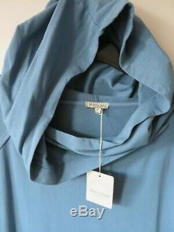 MARINA GIGLI ITALY 20-22 UK Blue Cotton Jersey Hooded Tunic Dress LAGENLOOK BOHO