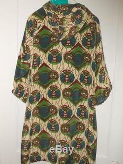 MARNI at H&M Silk Hooded Anorak Parka Style Peacock Print Dress 32 EU / 2 US