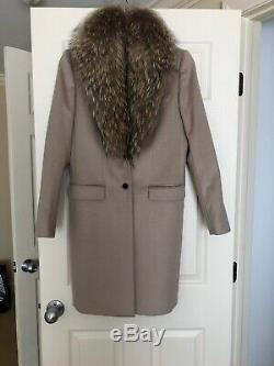MAX MARA 100% Cashmere Coat with Mink trimmed hood New with tags Size 42