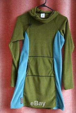 MELANZANA DRESS BRAND NEW! Size S Micro Grid Hoodie Jacket Olive + Blue