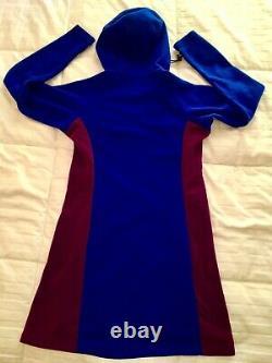 MELANZANA Micro Grid Melly Dress Hood SURF/PHLOX Womens MEDIUM NEW Without Tags