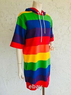 MICHAEL KORS Rainbow Striped Hoodie Dress Size S