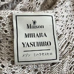 MIHARA YASUHIRO Off-White Distressed Oversized Hooded Knit Top/Dress