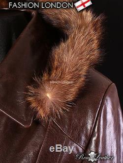 MISTRAL' Ladies Brown FUR HOODED Parka Real Leather Jacket Winter Coat 5788