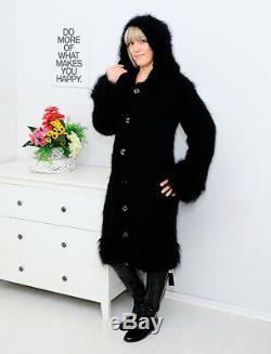 MOHAIR + ANGORA Hand Knitted Hooded Cardigan Handmade Black Robe Dress NEW SALE