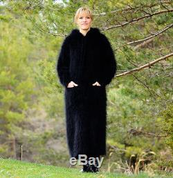 MOHAIR & ANGORA Hand Knitted Hooded Dress Black Robe Sweater NEW SALE
