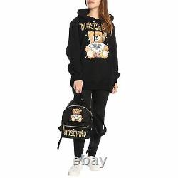 MOSCHINO COUTURE Black Christmas Lights Teddy Bear French Terry Hoodie Dress 14