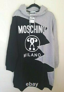 MOSCHINO COUTURE Grey & Black Zig Zag Hooded Dress Sz uk12. Rrp£455, new