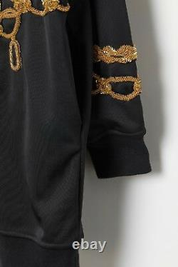 MOSCHINO TV H&M Hooded Dress Thick Jersey withBeads Sequins Chains Black M Nwt