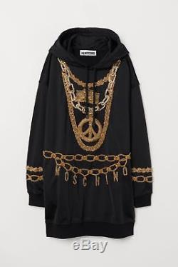 MOSCHINO x H&M HM Sweater Kleid Kapuze DRESS S embroidered hooded Sweatshirt NEW