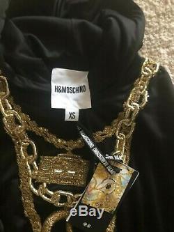MOSCHINO x H&M HM Sweater Kleid Kapuze DRESS XS embroidered hooded Sweatshirt