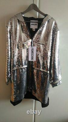 MOSCHINO x H&M SEQUINNED SILVER HOODED DRESS NAOMI Jeremy Scott SIZE M
