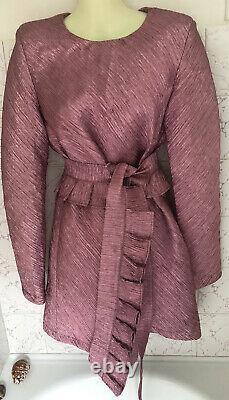 Maggie Marilyn Dress S/AU8 Pink Glitter Lurex Frills Belt Retro 1950 Metallic