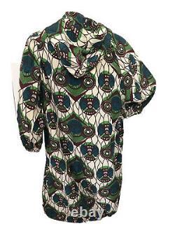 Marni For H&m Rare Ethnic Silk Hooded Parka Coat Dress Uk 10 Eu 36 Small Bnwt