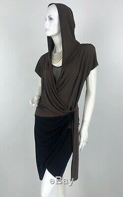 Max Mara New 8 US 44 IT M Brown Black Stretch Knit Hooded Wrap Dress Runway Auth