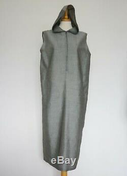 Max Mara Weekend Grey Ramie Viscose Hooded Dress, Size UK 14, F 44