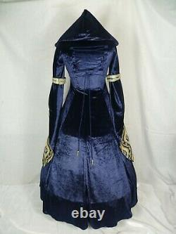 Medieval Dress Renaissance Hooded Gown Blue and Gold Dress Custom Made to size