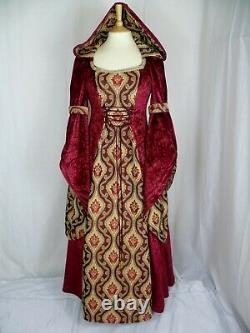 Medieval Dress Renaissance Hooded Gown Red and Gold Dress Custom Made to size