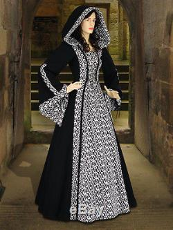 Medieval Renaissance Maiden Dress Gown with Hood, Many Colors Available