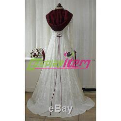 Medieval Renaissance Pagan Wedding Hooded Dress Victorian Civil War Ball Gown