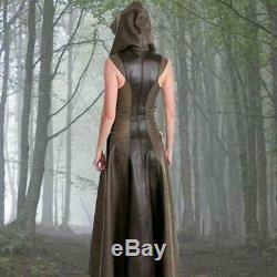 Medieval Renaissance Women Long Dress Sleeveless Hooded Dress Costume Lace up