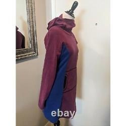 Melanzana Hoodie Microgrid Sweater Long Ski Snowboard Purple Blue Dress Size S