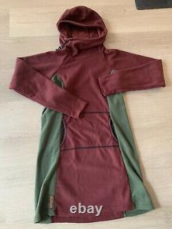 Melanzana Micro Grid Hooded Dress Hoodie M Medium Womens Port/thyme Maroon Green