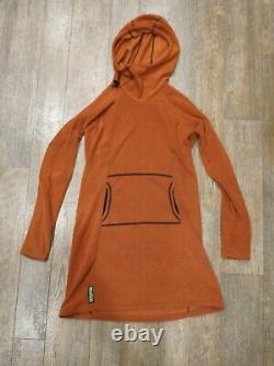 Melanzana Micro Grid Hoodie Dress, Womens Medium Orange, New withsticker