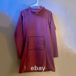 Melanzana Micro Grid Hoodie Dress, Womens Medium Port Purple with sticker